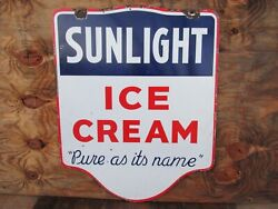 30x24 Authentic Org. 1930 Sunlight Ice Cream Pure At Itsand039 Name Porcelain Sign