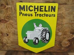 24.5x18 Authentic Original 1950 French Michelin Tractor Tires Porcelain Sign