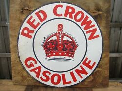 42 Round Authentic Org. Ssp 1930 Red Crown Gasoline And Oil Co. Porcelain Sign