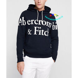 Abercrombie And Fitch Mens Exploded Print Logo Hoodie Sweatshirts Navy Blue Size M