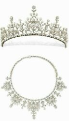 Pearl Tiara Converts Necklace 925 Sterling Silver Filigree Handmade Fine Jewelry