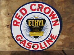 30 Round Authentic Org. 1920 Red Crown Gasoline And Oil Co. Porcelain Sign