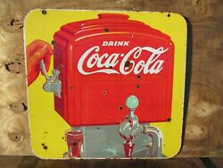 25x26 Authentic Org. Dsp 1940s Drink Coca Cola Soda Coke Company Porcelain Sign