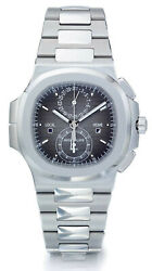 Patek Philippe NEW Nautilus Travel Time Chronograph Steel Watch BoxPapers 5990