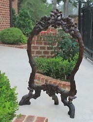 Antique French Mirror Black Forest Oak Framed Or Standing Mirrored Firescreen