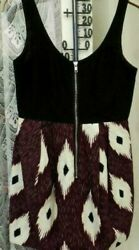 Ref 2882 H And M - Size 10 - Black Purple And White Sleeveless Evening Dress