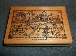 1999 STAMPIN' UP BLOOM WHERE YOUR PLANTED  WOOD MOUNTED RUBBER INK STAMP - NEW