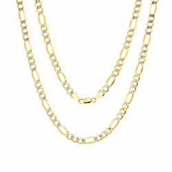 Mens 10k Yellow Gold 7mm Diamond Cut White Pave Figaro Link Chain Necklace 28
