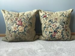 Antique Pair of 18th Century French Aubusson Tapestry Pillows 25quot; x 25quot; Each