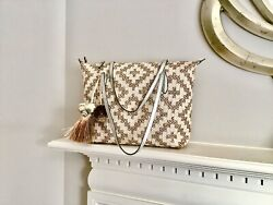 Eric Javits woven tote bag in Southwestern design with leather trim NWT $550.00