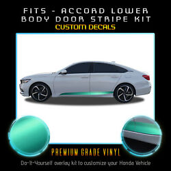 For 2018-2020 Honda Accord Lower Doors Stripe Accent Decal - Satin Matte Chrome