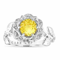 Yellow Sapphire Floral Engagement Ring, 1.02 Carat 14k White Gold Or Black Gold