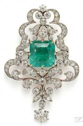 Simulated Green Emerald 925 Sterling Silver White Round Vintage Style Brooch Pin