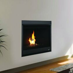 Superior Drc2040 Contemporary Direct Vent Gas Fireplace With Black Glass Media