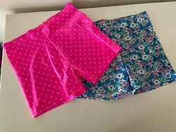 Mini Boden Girls Set of 2 Jersey Shorts Floral and Pink Polka Dots Size 9-10 Yrs