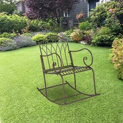 Outdoor Rocking Chair Wrought Iron Porch Patio Rocker Metal Extra Wide