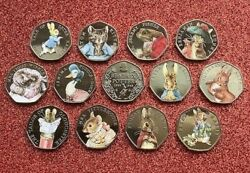 Coloured Beatrix Potter 50p Coins 2016 2017 2018 Free Gift With Sets