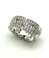 18k White Gold Tank Francaise 0.55 Ctw Diamond Ring Band Maillon Panthere