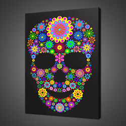Abstract Floral Skull Canvas Print Picture Wall Hanging Art Free Fast Delivery