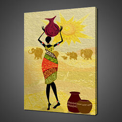 African Lady Landscape And Elephants Canvas Print Picture Wall Art Free Delivery