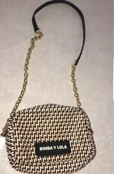 Bimba y Lola Crossbody Bag Nude Black Braided Leather Gold Chain $95.00