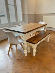 Quebec Pine Plank Top Dining Table And Bench With Chairs Painted In Your Colour