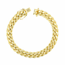 10k Yellow Gold Solid Mens 9mm Miami Cuban Link Chain Bracelet Safe Box Clasp 8