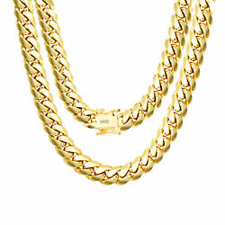 14K Yellow Gold Solid Mens 9mm Miami Cuban Link Chain Necklace Box Clasp 22
