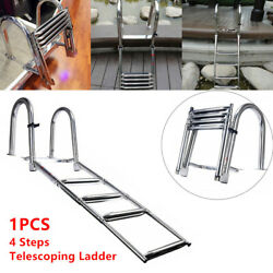 Stainless Steel Inboard Rail Boat Marine 4 Step Dock Telescoping Ladder Us Stock