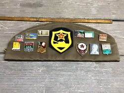 Vintage 1975 Soviet Tankers Hat With Pins And Badges Great Collectible