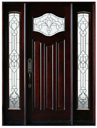 Front Entry Solid Wood Door Pre-hung And Finished Door With Double Sidelights