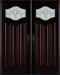 Front Entry Double Door Mahogany Wood Door 30×80/ 36×80 Pre-hung And Finished