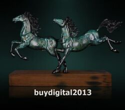 Western Art Deco Pure Bronze Ship Wood Two Running Horse Steed Animal Sculpture