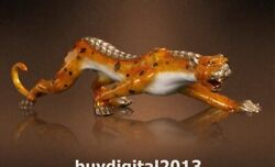 China Art Deco Bronze Painted Cheetah Leopard Panther Animal Ornament Sculpture