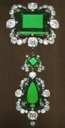 Green Emerald 925 Sterling Silver Vintage Style Halo Handmade Solid Brooch Pin