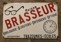 Original Antique French Optical Advertising Porcelain Sign 15 3/4andrdquo H X 23 1/2andrdquo W