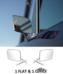 Pair Chrome Exterior Door Mirror W/ Led Turn For 66-77 Ford Bronco And 67-79 Truck