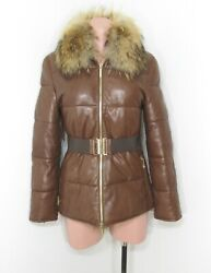 Ch Carolina Herrera Quilted Leather Fur Collar Belted Puffer Jacket Xs