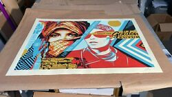 Shepard Fairey Large Format Golden Future Obey Giant Lithograph Hand Signed