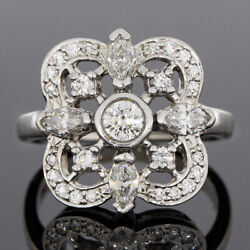 Kwiat White Gold 1.01ct Round Diamond Clover Shaped Bezel Ring Msrp 5,050