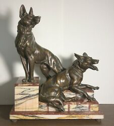 Art Deco Onyx And Bronze Grouping With Two German Shepards Dogs -21x17x11