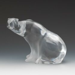 Lalique Crystal Polar Bear,clear And Frosted Molded Glass Vintage