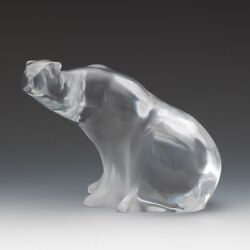 Lalique Crystal Polar Bearclear And Frosted Molded Glass Vintage