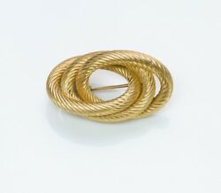 Vintage And Co. 18k Yellow Gold Rope Brooch Pin