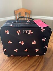 NEW Kate Spade Travel Cosmetic Bag Dawn Dusk Buds Ditsy Black Floral Nylon Case $55.95