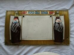 Rare Vintage 1960's Pepsi And Diet Soda Bottles Enjoy Either Way Advertising Sign
