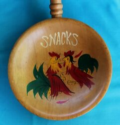 Rooster Chicken Wood Bowl Snacks Handle Vintage Hand Painted Kitchen Japan #3