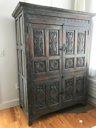 Antique Armoire Cabinet Court Cupboard Carved Wood Blue/green
