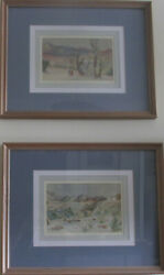 Ira Moskowitz Anna Phillips Pair Of Original Watercolors Signed And Framed
