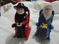 Antique Salt And Pepper Set Cast Metal Amish Man And Woman In Rocking Chairs/mint